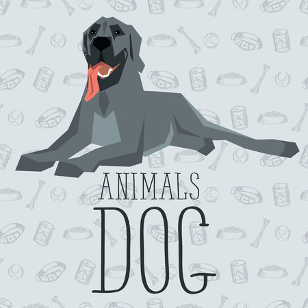 dane: Vector geometric dogs collection with seamless background. Great Dane