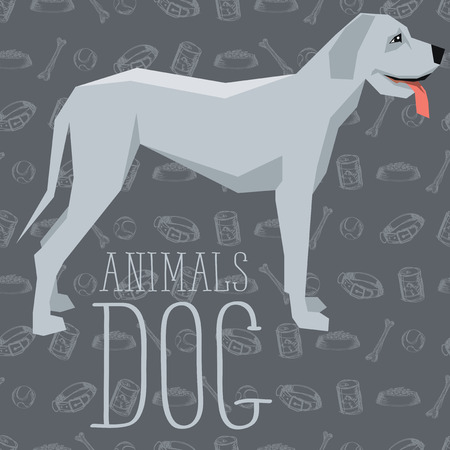 Vector geometric dogs collection with seamless background. Great Dane