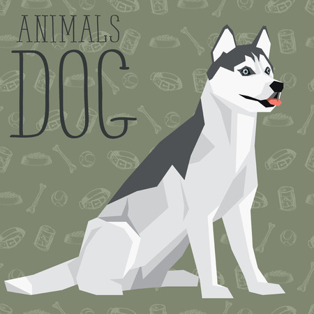 siberian: Vector geometric dogs collection with seamless background. Siberian Husky