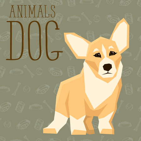 welsh: Vector geometric dogs collection with seamless background. Welsh Corgi