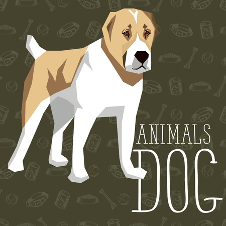 alabai: Vector geometric dogs collection with seamless background. Central Asian Shepherd Dog Illustration