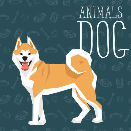 akita: Vector geometric dogs collection with seamless background. Akita