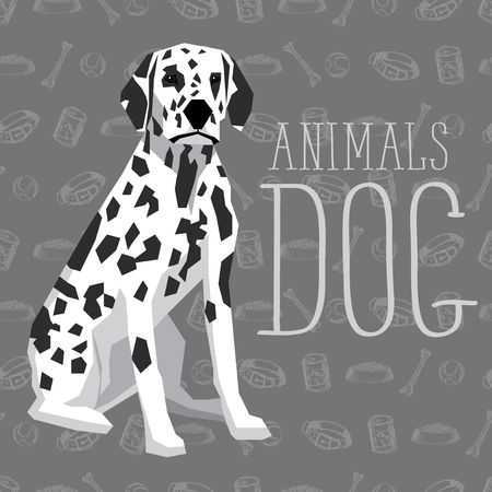 dalmatian: Vector geometric dogs collection with seamless background. Dalmatian Illustration