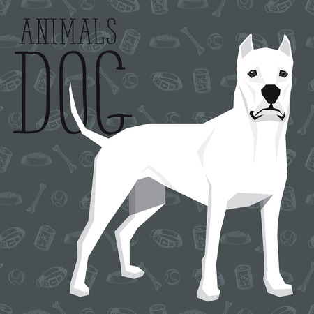 argentino: geometric dogs collection with seamless background. Dogo Argentino Illustration