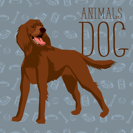 setter: geometric dogs collection with seamless background. Irish Setter