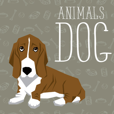 geometric dogs collection with seamless background. Basset Hound
