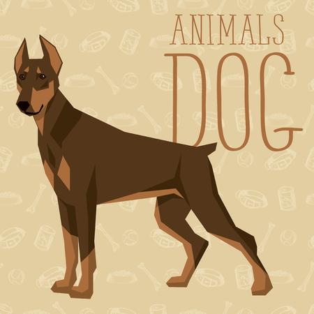 pinscher: geometric dogs collection with seamless background. Doberman Pinscher Illustration