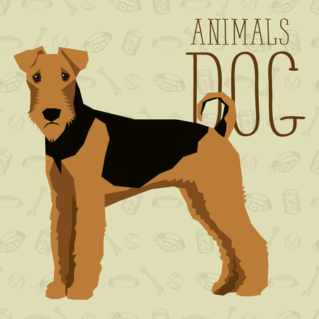 geometric dogs collection with seamless background. Airedale Terrier