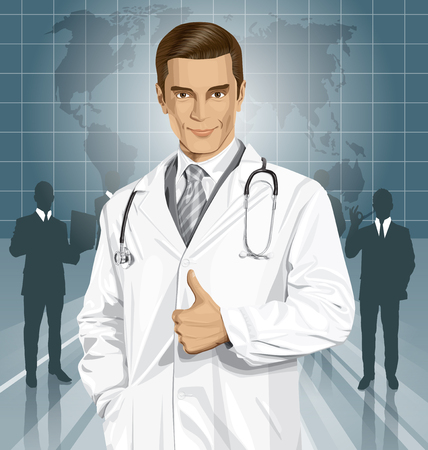 well: Vector doctor man with stethoscope shows well done Illustration