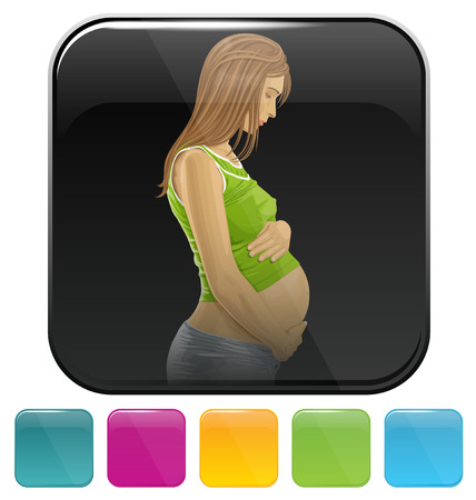 belly button: Vector button icon with pregnant woman