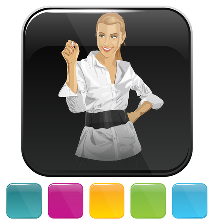 vector button: Vector button icon with business woman