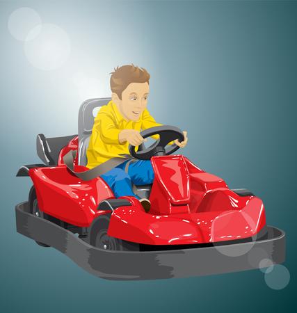 kart: Vector illustration of boy driving go kart so happy about it Illustration