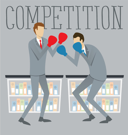 rival: Vector flat business concept competition. Two boxing business mans