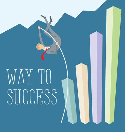 stair climber: Vector flat business concept way to success. Business man jump pole vault
