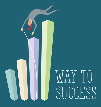 pole vault: Vector flat business concept way to success. Business man jump pole vault