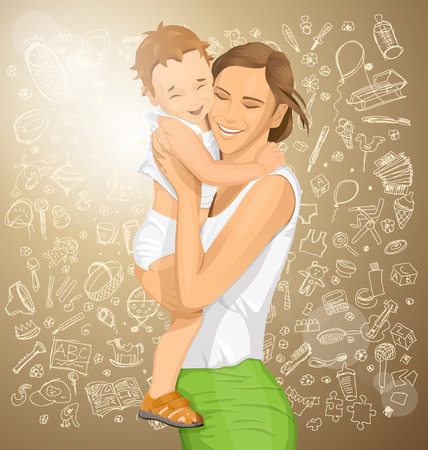 happy woman: Happy family concept. Vector woman with child Illustration