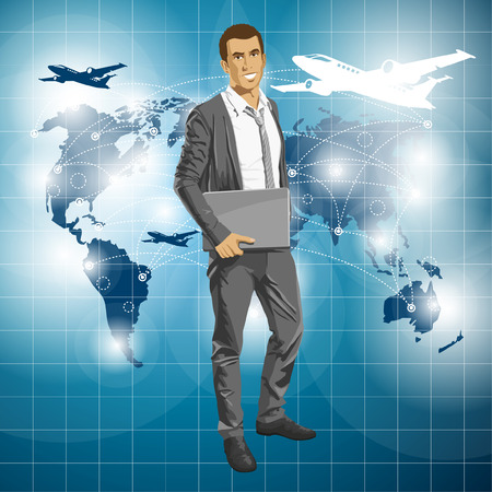 tripping: Vector Idea and travel concept. Business man with laptop in his hands. All layers well organized and easy to edit