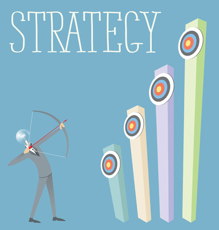 metaphoric: Vector flat business strategy concept. Business man shoots a bow to the target