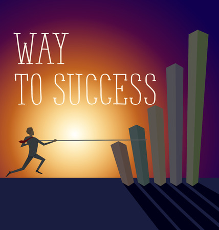 stair climber: Vector flat business concept way to success. Business man jump pole vault