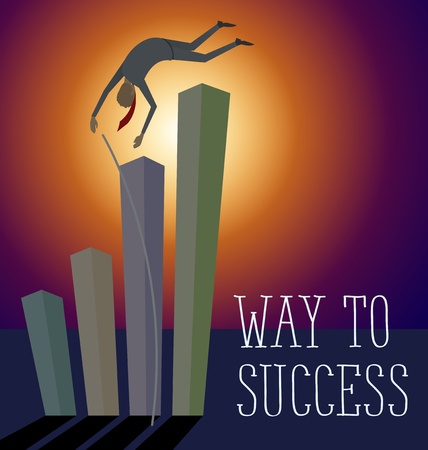 metaphoric: Vector flat business concept way to success. Business man jump pole vault