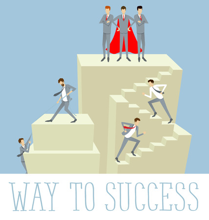 stair climber: Vector flat business concept way to success