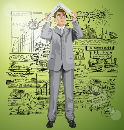 hidden success: Vector business man hides under the laptop in his hands Illustration