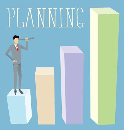 spyglass: Vector flat business concept Businessman looking on spyglass. Plannig the future