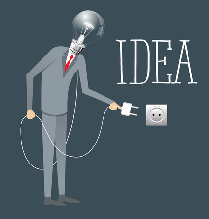 metaphoric: Idea research flat isometry business startup experiment concept vector illustration. Businessman lighting big lamp abstract electronic device Illustration