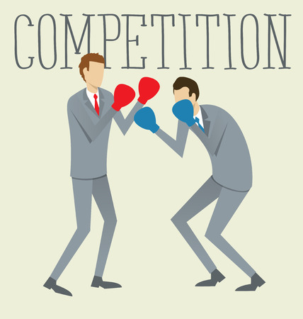 team effort: Vector flat business concept competition. Two boxing business mans