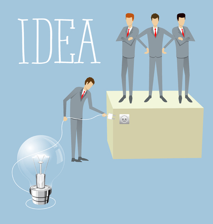 isometry: Idea research flat isometry business startup experiment concept vector illustration. Businessman lighting big lamp abstract electronic device Illustration