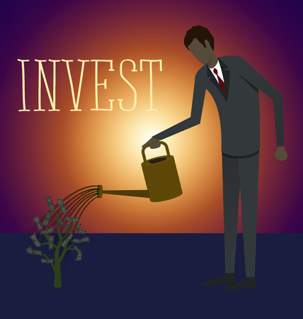 watering plant: Flat style invest concept web infographics vector illustration. Businessman watering plant with dollar leaves Illustration