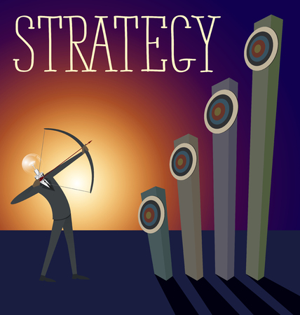 foresight: Vector flat business strategy concept. Business man shoots a bow to the target