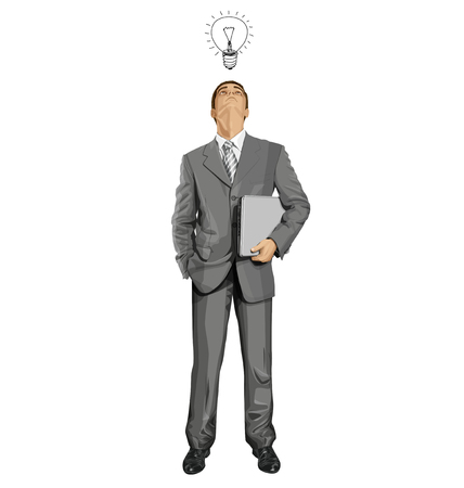 man looking up: Vector business man in suit looking up, looking for idea, with laptop in his hands Illustration