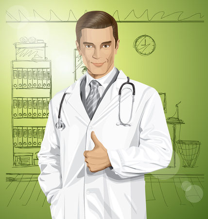 well done: Vector doctor man with stethoscope shows well done in office Illustration