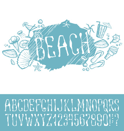 shrimp cocktail: Vector label with hand made font. With inscription Beach Illustration