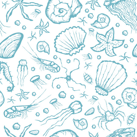 sea creatures: Vector with hand made seamless sea creatures pattern Illustration