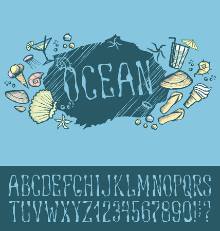 shrimp cocktail: Vector label with hand made font. With inscription Ocean