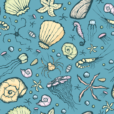 shrimp cocktail: Vector with hand made seamless summer beach pattern Illustration
