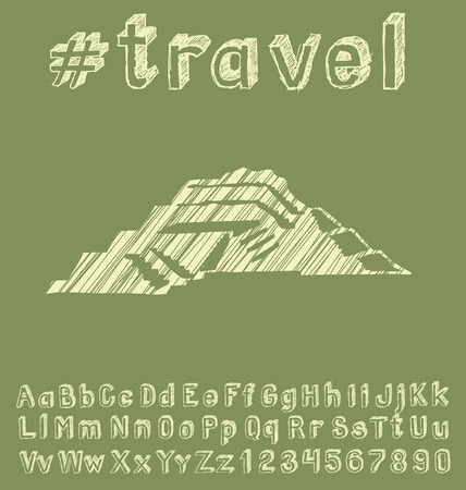 mesoamerican: Travel concept. Vector background with hand made font and monument Illustration