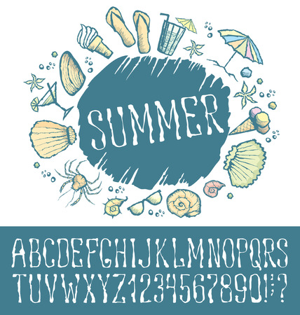 shrimp cocktail: Vector label with hand made font. With inscription Summer Illustration