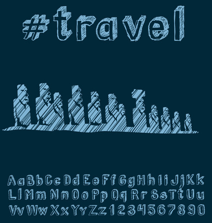 moai: Travel concept. Vector background with hand made font and monument Illustration
