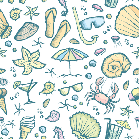 shrimp cocktail: Vector with hand made seamless sea creatures pattern Illustration