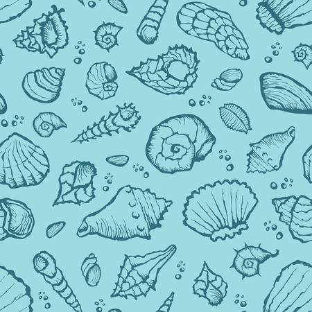shell pattern: Vector with hand made seamless summer shell pattern