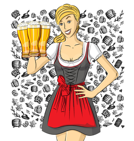 Vector cute woman in drindl on oktoberfest with beer in her hand Illustration