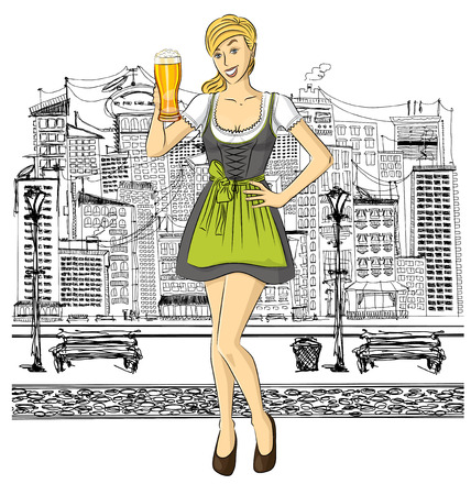 irish woman: Vector cute woman in drindl on oktoberfest with beer in her hand Illustration