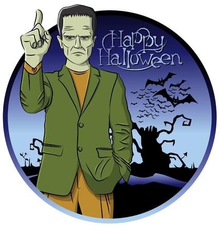 reanimated: Cartoon Frankenstein vector. Frankenstein Halloween. Halloween background. Monster