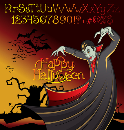 man made: Cartoon Dracula vector. Halloween font set. Vampire Dracula Halloween. Halloween background