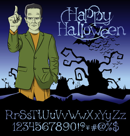 frank: Cartoon Frankenstein vector. Frankenstein Halloween. Halloween background. Monster