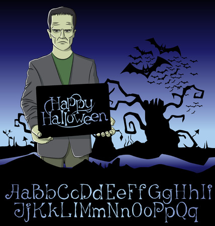 frank: Cartoon Frankenstein vector. Halloween font set. Frankenstein Halloween. Halloween background. Monster