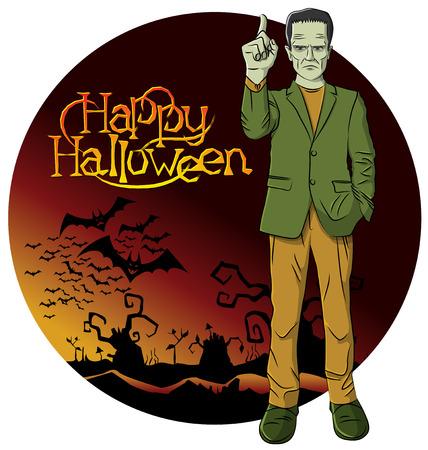 cartoon frankenstein: Cartoon Frankenstein vector. Frankenstein Halloween. Halloween background. Monster